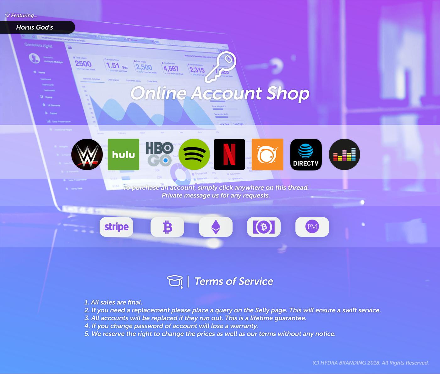 HorusGod's Shop - [$1 00] Crunchyroll,Netflix,Spotify,Hulu